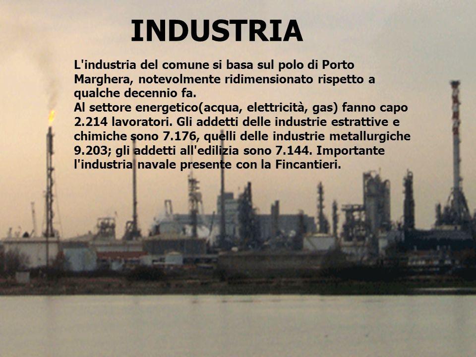INDUSTRIA L industria del comune si basa sul polo di Porto Marghera, notevolmente ridimensionato rispetto a qualche decennio fa.