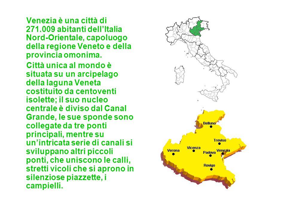 Venezia è una città di 271.009 abitanti dell'Italia Nord-Orientale, capoluogo della regione Veneto e della provincia omonima.