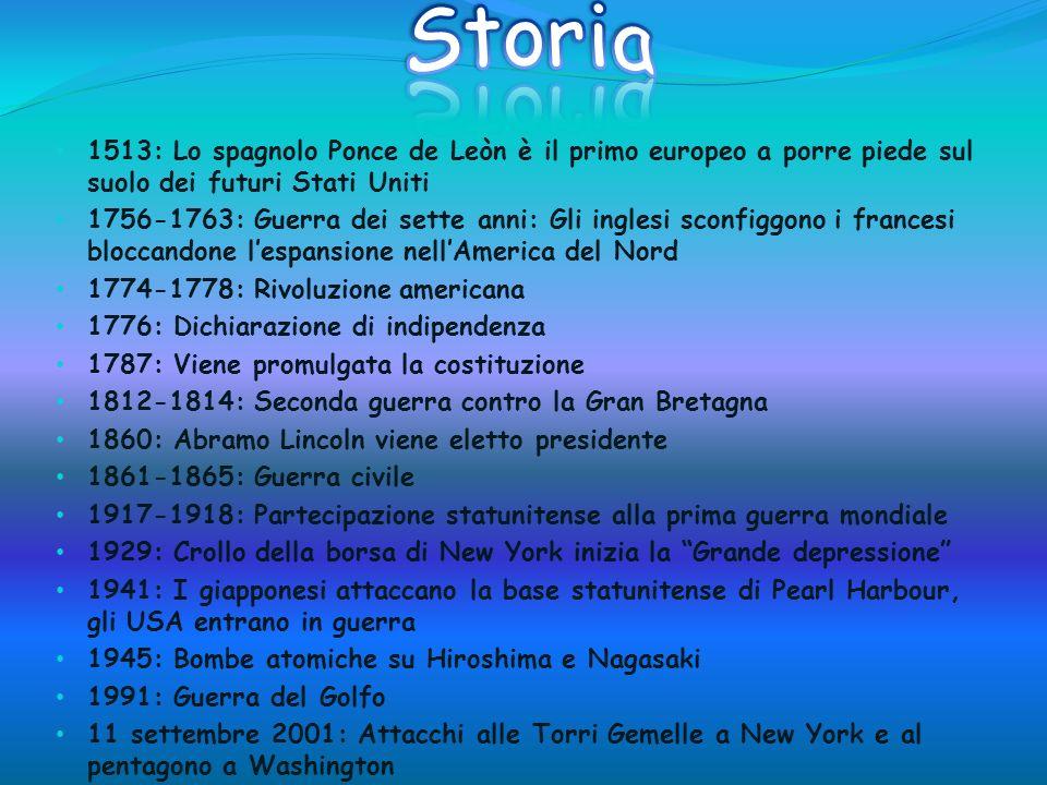 Storia 1513: Lo spagnolo Ponce de Leòn è il primo europeo a porre piede sul suolo dei futuri Stati Uniti.