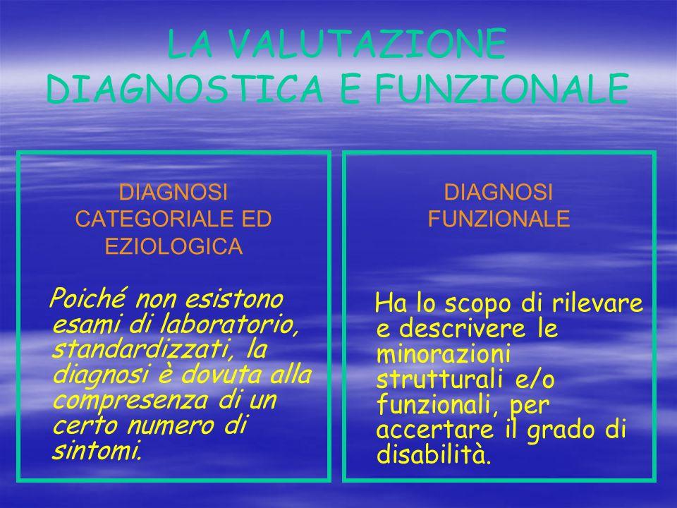 LA VALUTAZIONE DIAGNOSTICA E FUNZIONALE