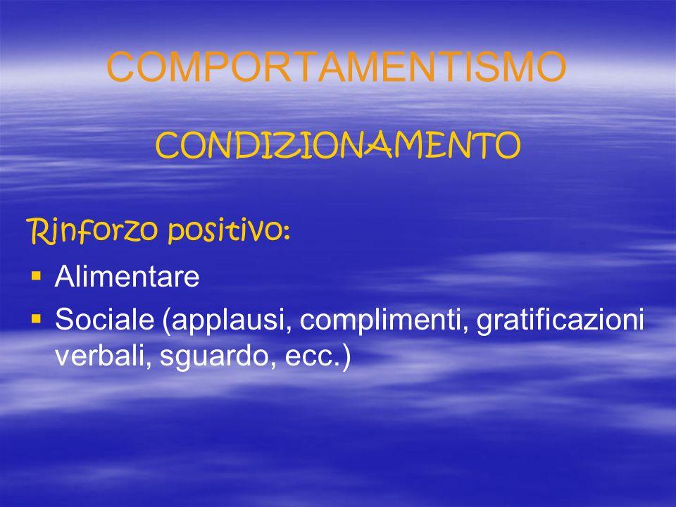 COMPORTAMENTISMO CONDIZIONAMENTO Rinforzo positivo: Alimentare
