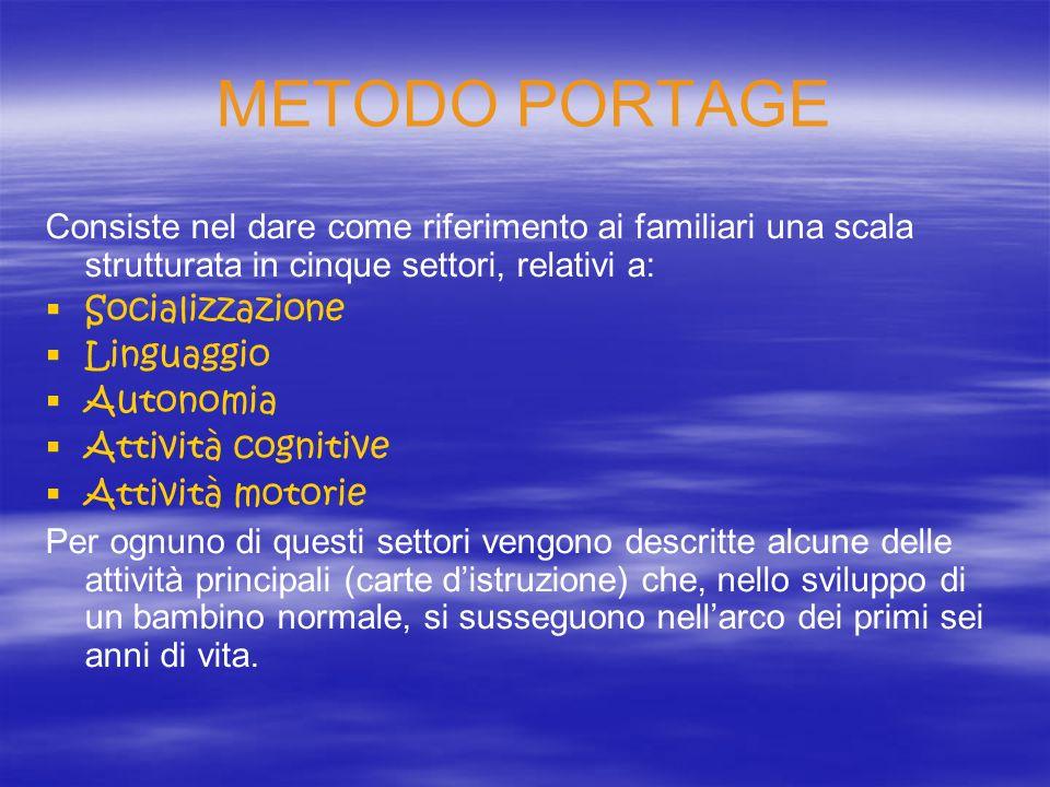 METODO PORTAGE Consiste nel dare come riferimento ai familiari una scala strutturata in cinque settori, relativi a: