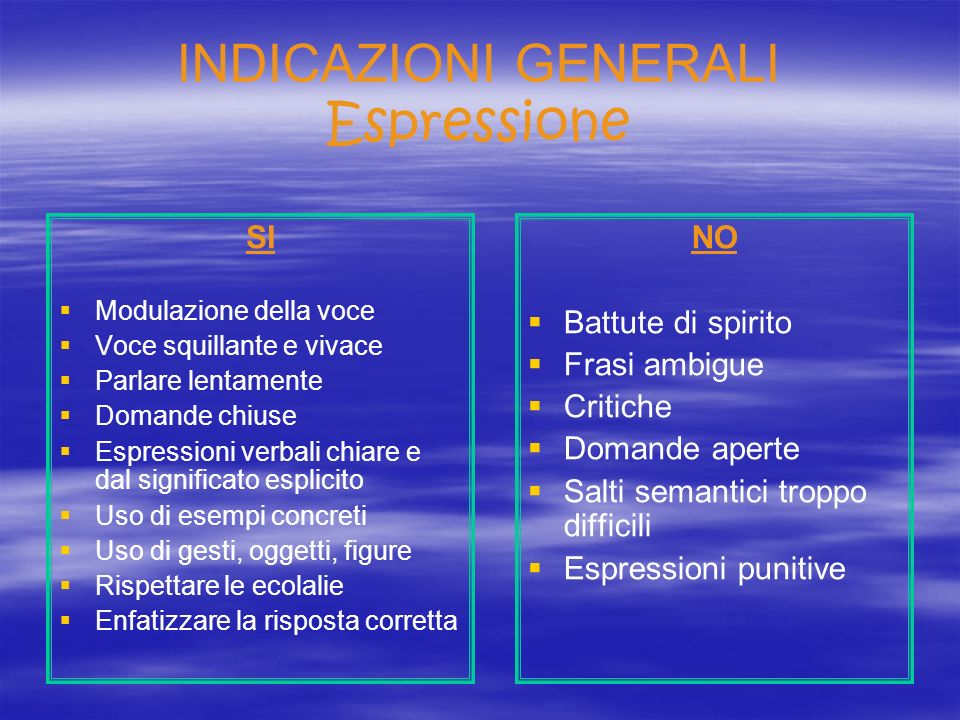 INDICAZIONI GENERALI Espressione