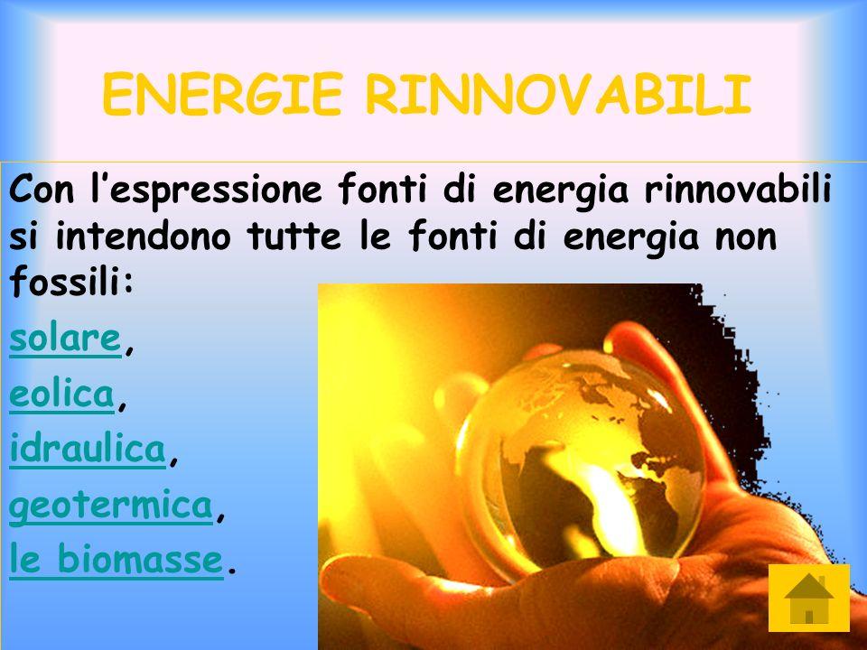 ENERGIE RINNOVABILI Con l'espressione fonti di energia rinnovabili si intendono tutte le fonti di energia non fossili: