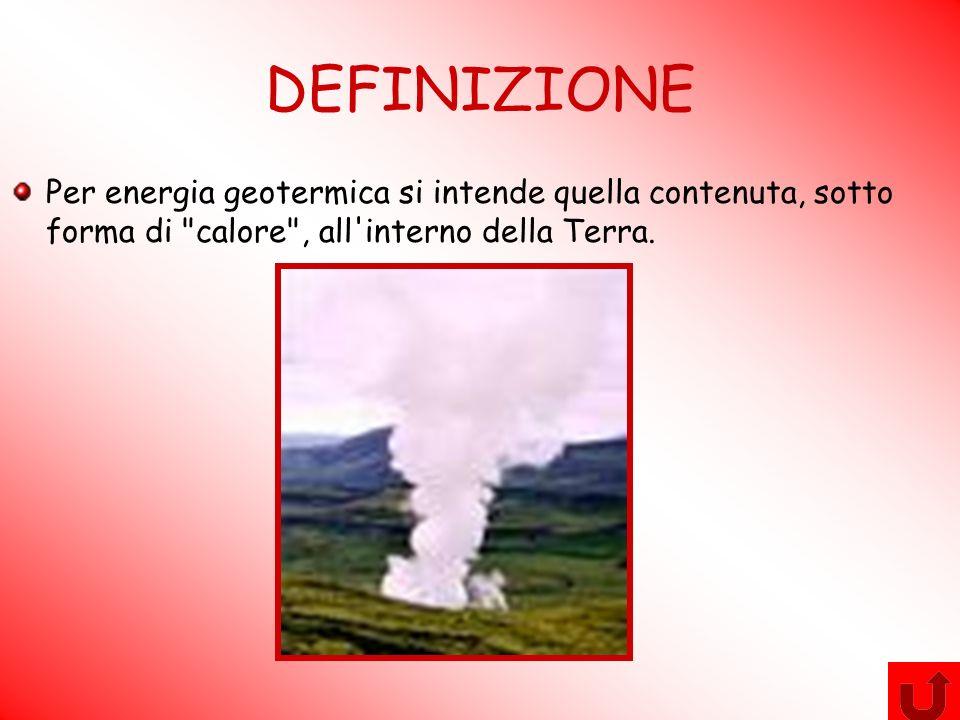 DEFINIZIONE Per energia geotermica si intende quella contenuta, sotto forma di calore , all interno della Terra.