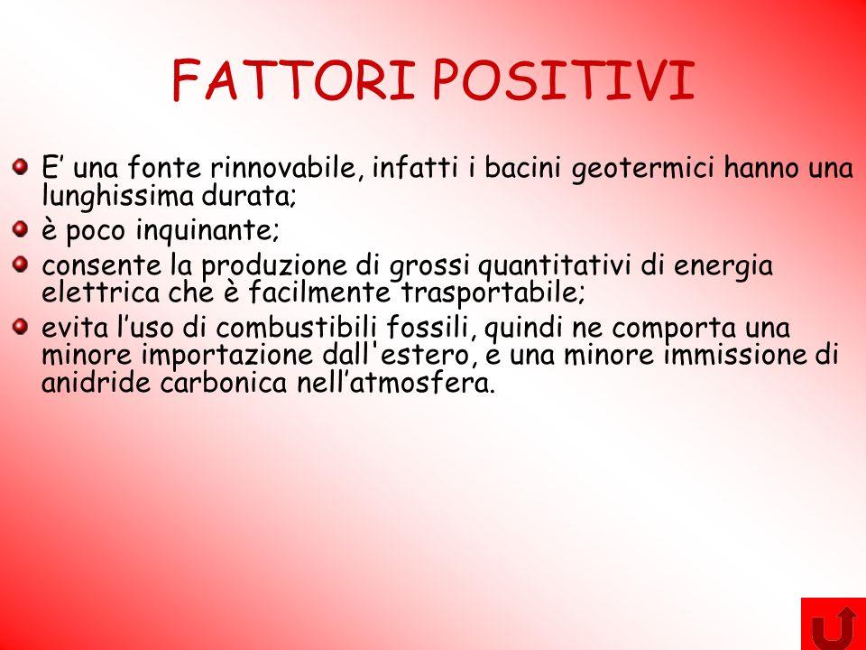 FATTORI POSITIVI E' una fonte rinnovabile, infatti i bacini geotermici hanno una lunghissima durata;