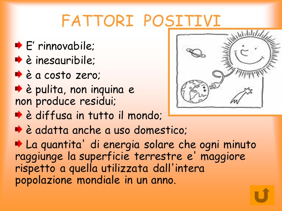 FATTORI POSITIVI E' rinnovabile; è inesauribile; è a costo zero;