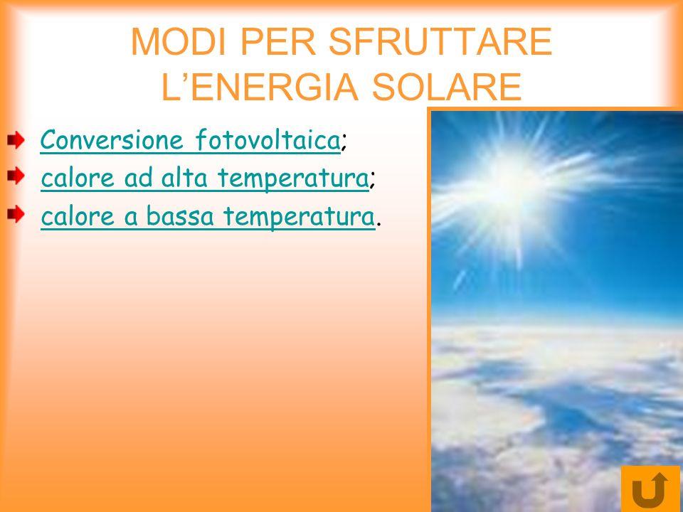 MODI PER SFRUTTARE L'ENERGIA SOLARE