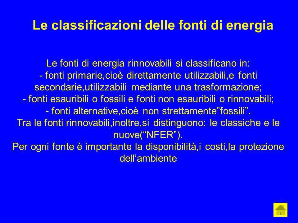 Le classificazioni delle fonti di energia