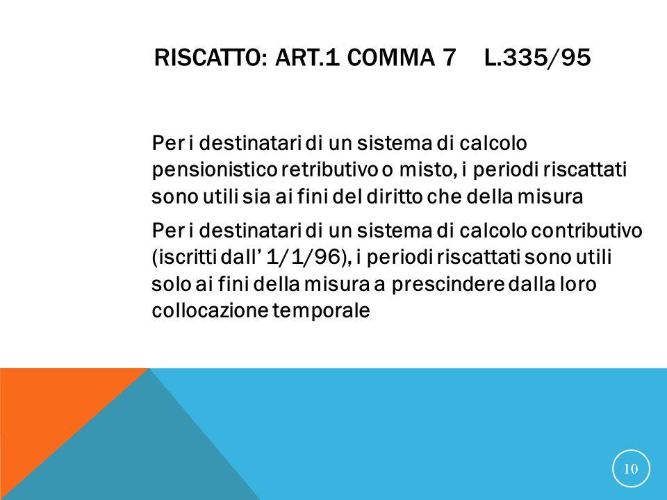 RISCATTO: art.1 comma 7 L.335/95