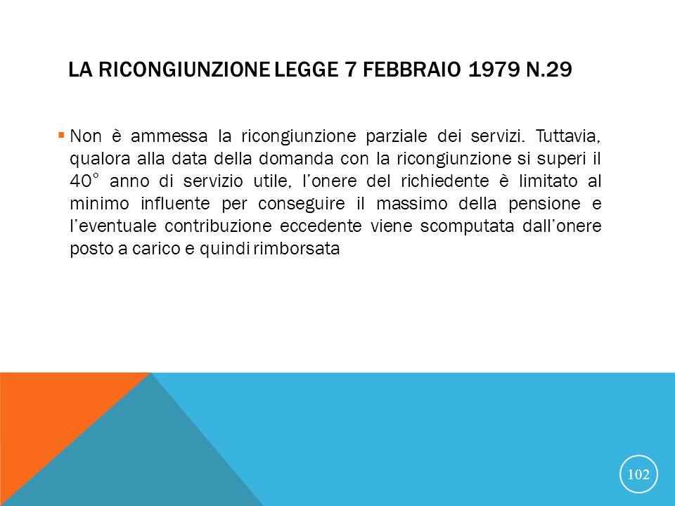 La ricongiunzione Legge 7 febbraio 1979 n.29