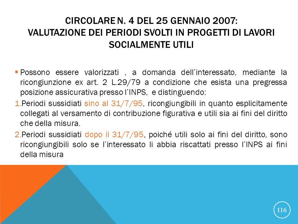 Circolare n. 4 del 25 gennaio 2007: Valutazione dei periodi svolti in progetti di lavori socialmente utili