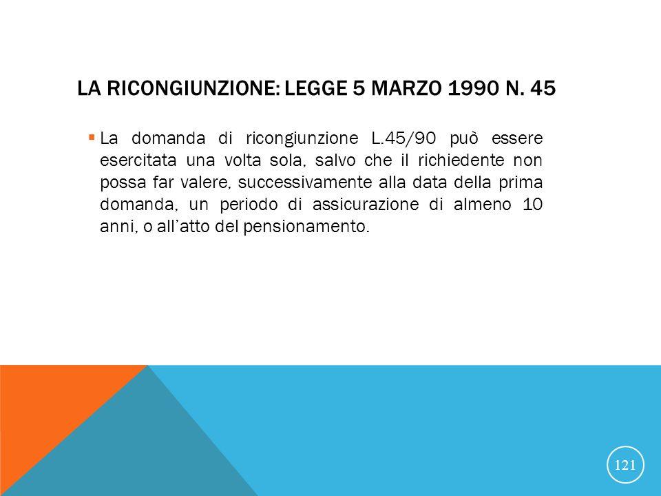 La ricongiunzione: Legge 5 marzo 1990 n. 45