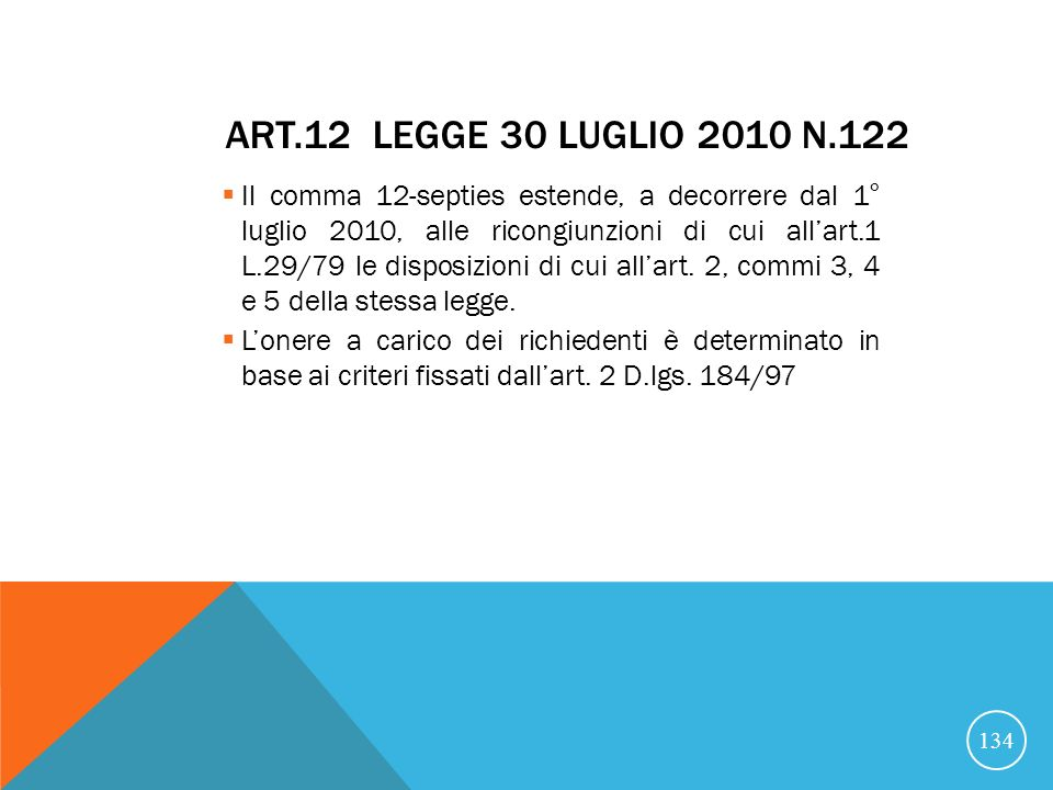 Art.12 legge 30 luglio 2010 n.122