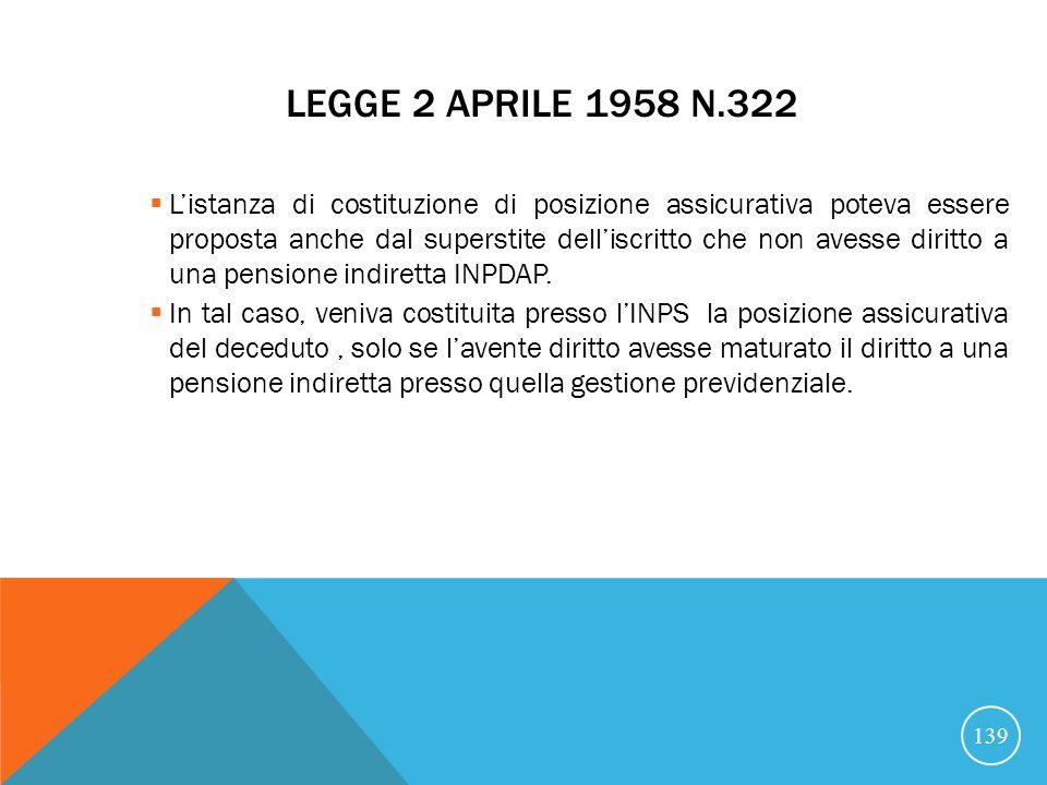 Legge 2 aprile 1958 n.322