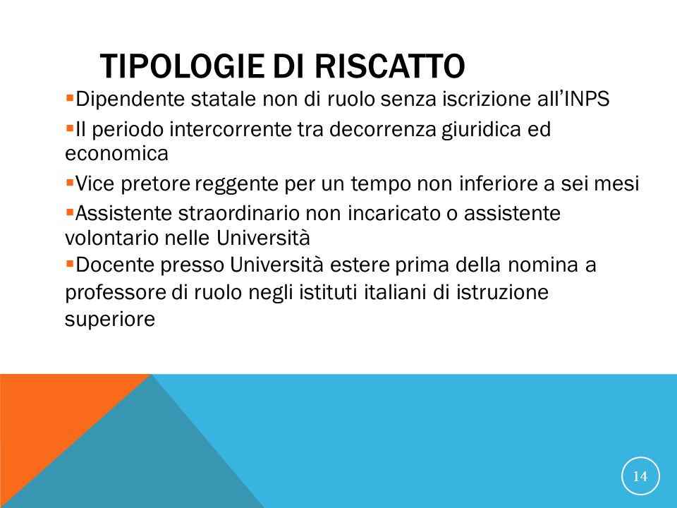 21/07/07 TIPOLOGIE DI RISCATTO. Dipendente statale non di ruolo senza iscrizione all'INPS.
