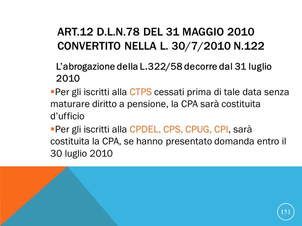 Art.12 D.L.n.78 del 31 maggio 2010 convertito nella L. 30/7/2010 n.122
