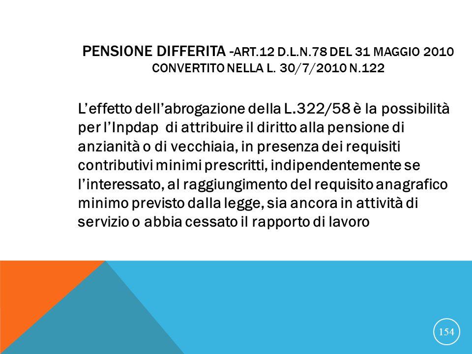 Pensione differita -Art. 12 D. L. n
