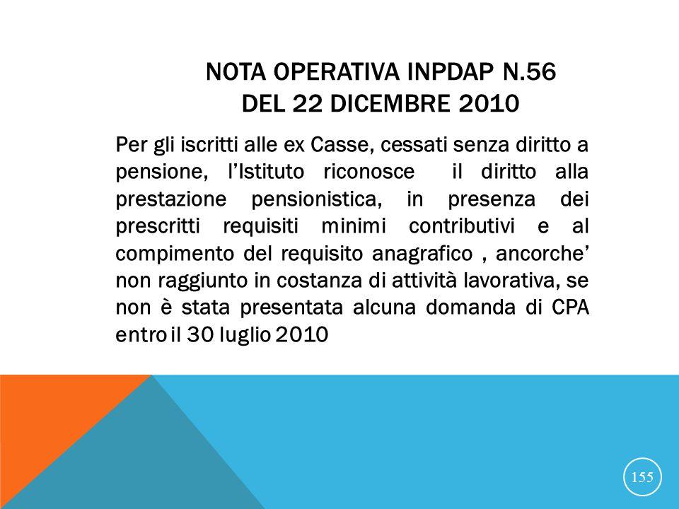 Nota operativa INPDAP n.56 del 22 dicembre 2010