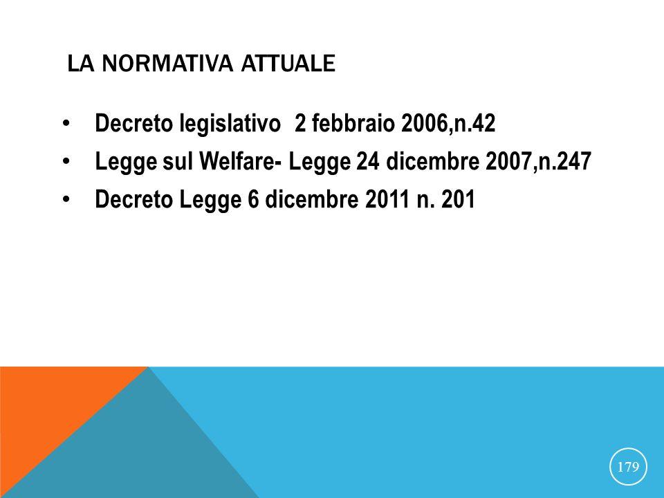 La normativa attuale Decreto legislativo 2 febbraio 2006,n.42. Legge sul Welfare- Legge 24 dicembre 2007,n.247.