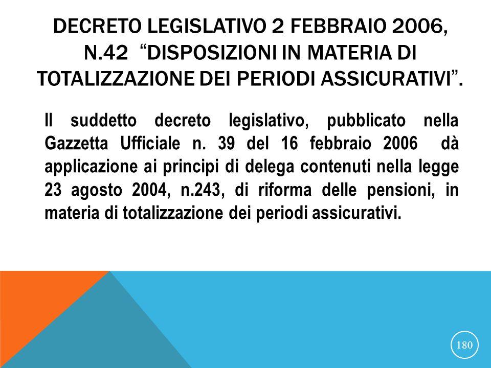 21/07/07 DECRETO LEGISLATIVO 2 FEBBRAIO 2006, N.42 DISPOSIZIONI IN MATERIA DI TOTALIZZAZIONE DEI PERIODI ASSICURATIVI .