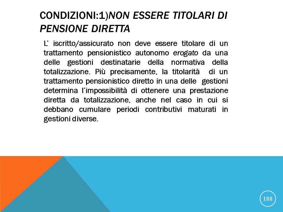 Condizioni:1)non essere titolari di pensione Diretta