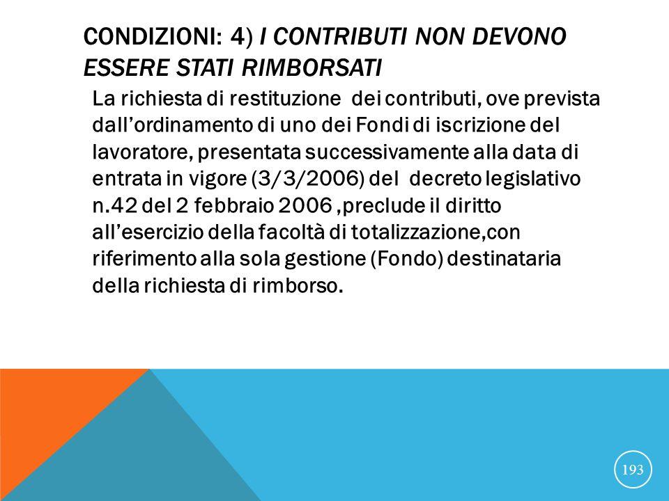 CONDIZIONI: 4) i contributi non devono essere stati rimborsati