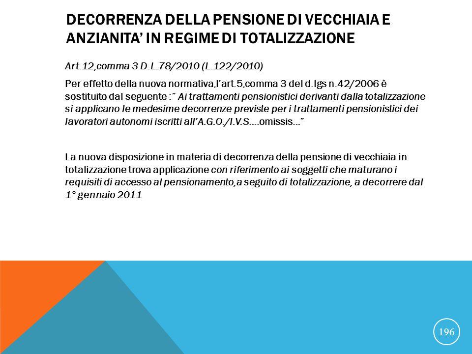 DECORRENZA DELLA PENSIONE DI VECCHIAIA E ANZIANITA' IN REGIME DI TOTALIZZAZIONE