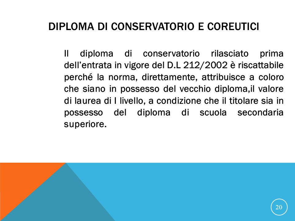 Diploma di conservatorio e coreutici