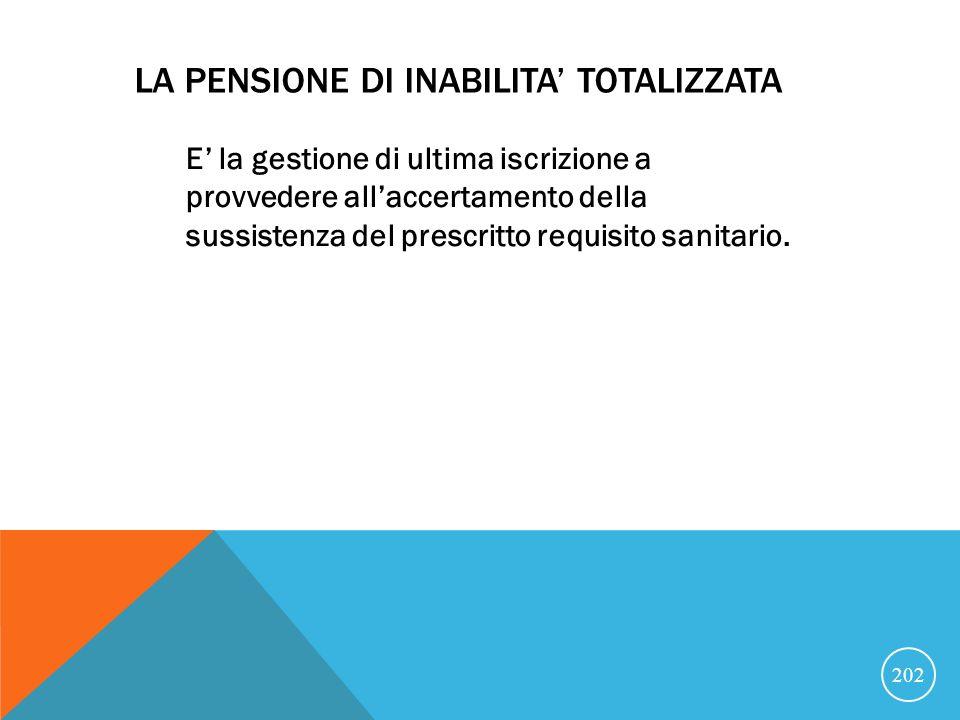 LA PENSIONE DI INABILITA' TOTALIZZATA