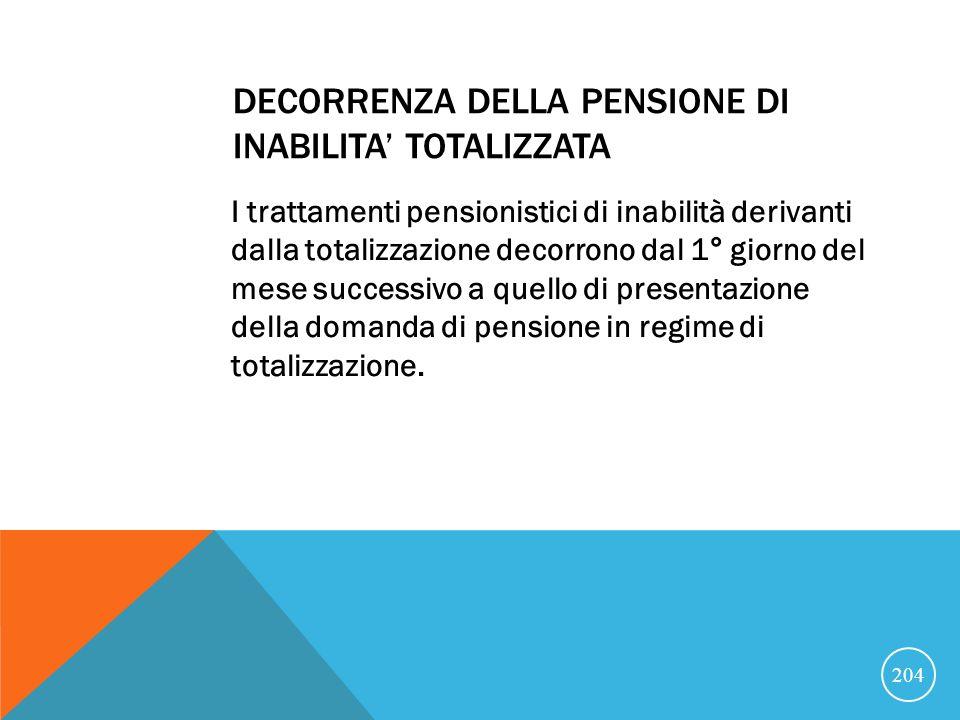 DECORRENZA DELLA PENSIONE DI INABILITA' TOTALIZZATA