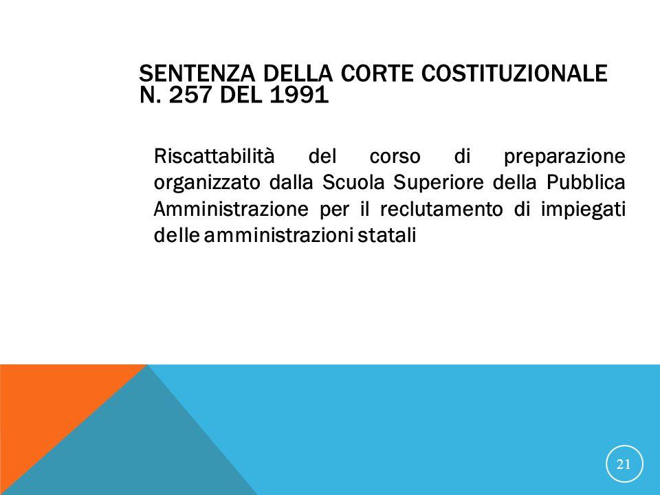 Sentenza della Corte Costituzionale n. 257 del 1991