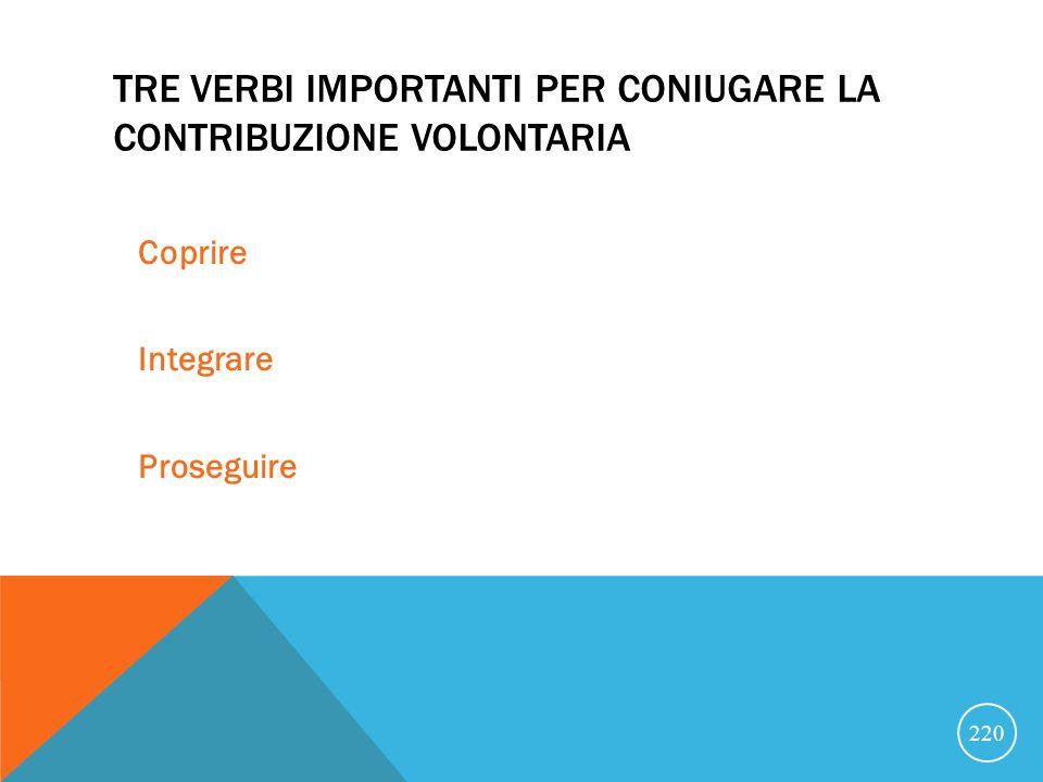 Tre verbi importanti per coniugare la contribuzione volontaria