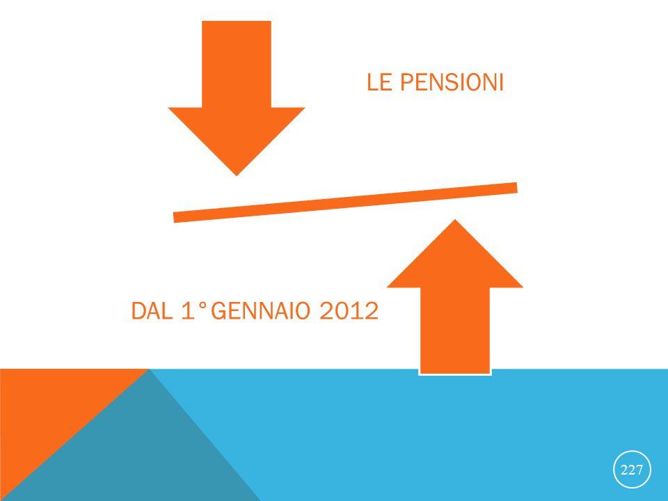 LE PENSIONI DAL 1°GENNAIO 2012