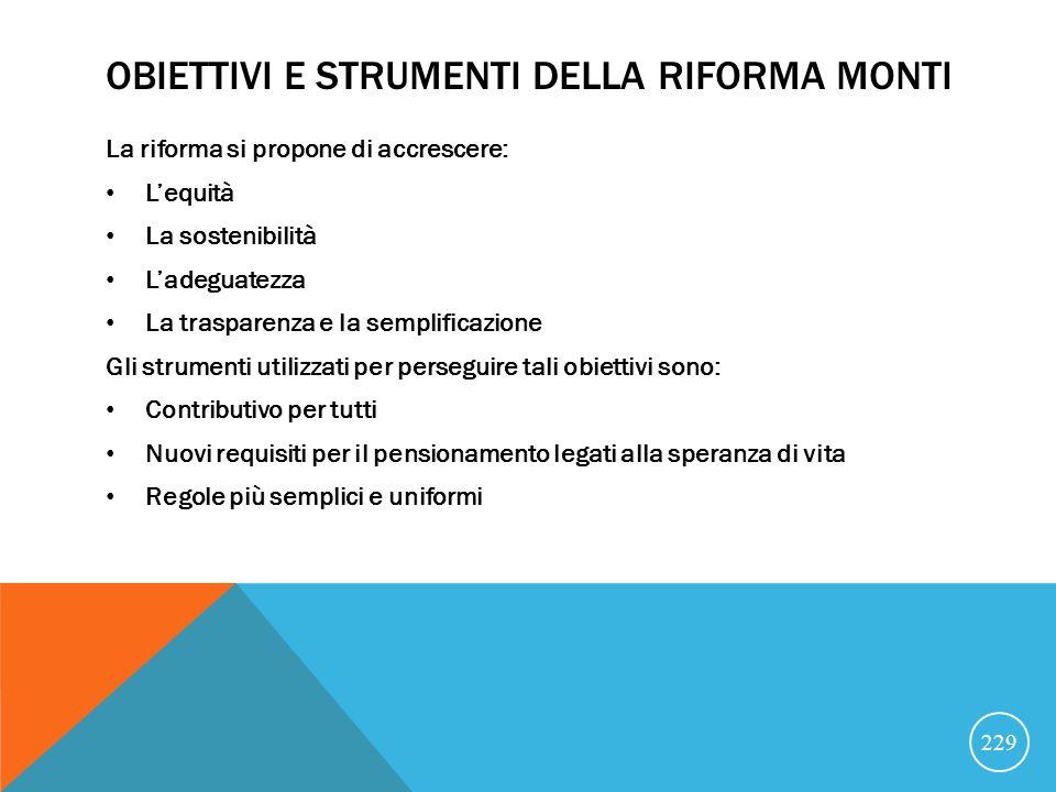 Obiettivi e strumenti della riforma monti