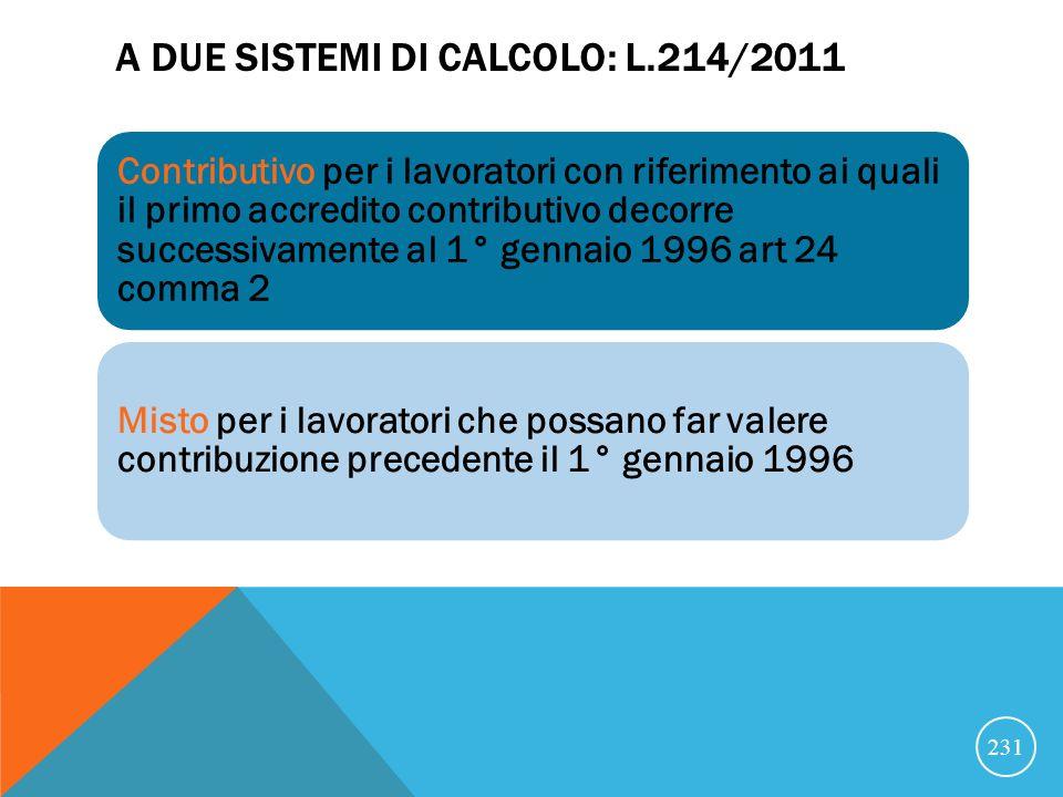 A due sistemi di calcolo: L.214/2011