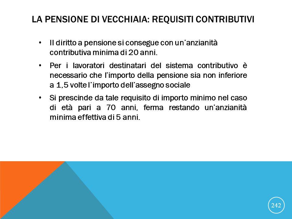La pensione di vecchiaia: requisiti contributivi