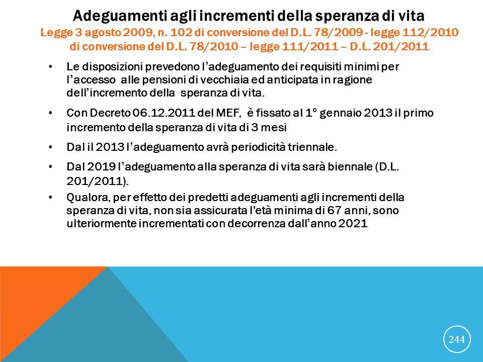 Adeguamenti agli incrementi della speranza di vita Legge 3 agosto 2009, n. 102 di conversione del D.L. 78/2009 - legge 112/2010 di conversione del D.L. 78/2010 – legge 111/2011 – D.L. 201/2011