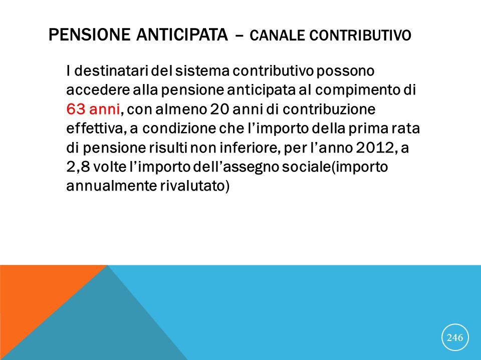 PENSIONE ANTICIPATA – CANALE CONTRIBUTIVO