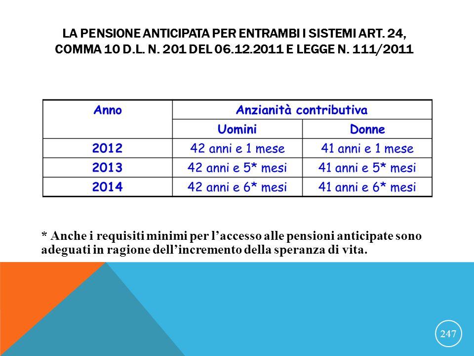La pensione anticipata per entrambi i sistemi art. 24, comma 10 D.L. n. 201 del 06.12.2011 e legge n. 111/2011