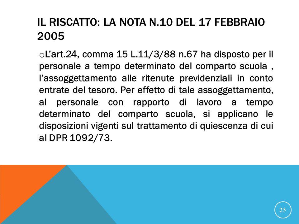 Il riscatto: la nota n.10 del 17 febbraio 2005
