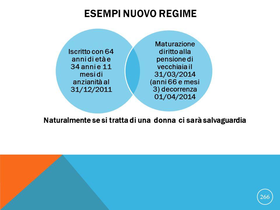 Esempi nuovo regime Iscritto con 64 anni di età e 34 anni e 11 mesi di anzianità al 31/12/2011.