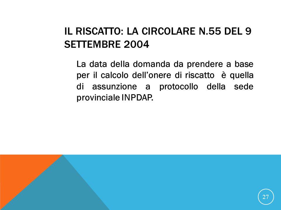 Il riscatto: la circolare n.55 del 9 settembre 2004