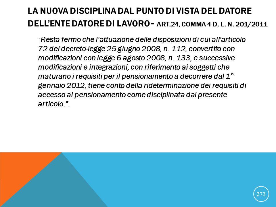 LA NUOVA DISCIPLINA DAL PUNTO DI VISTA DEL DATORE DELL'ENTE DATORE DI LAVORO - ART.24, COMMA 4 D. L. N. 201/2011