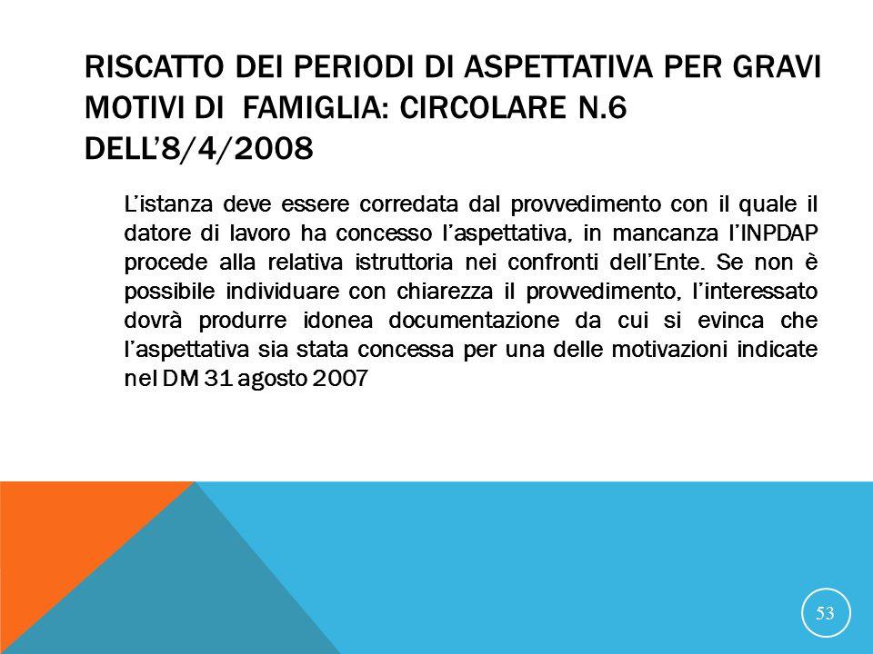 21/07/07 RISCATTO DEI PERIODI DI ASPETTATIVA PER GRAVI MOTIVI DI FAMIGLIA: CIRCOLARE N.6 DELL'8/4/2008.
