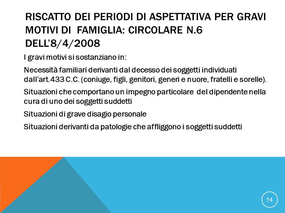 RISCATTO DEI PERIODI DI ASPETTATIVA PER GRAVI MOTIVI DI FAMIGLIA: CIRCOLARE N.6 DELL'8/4/2008