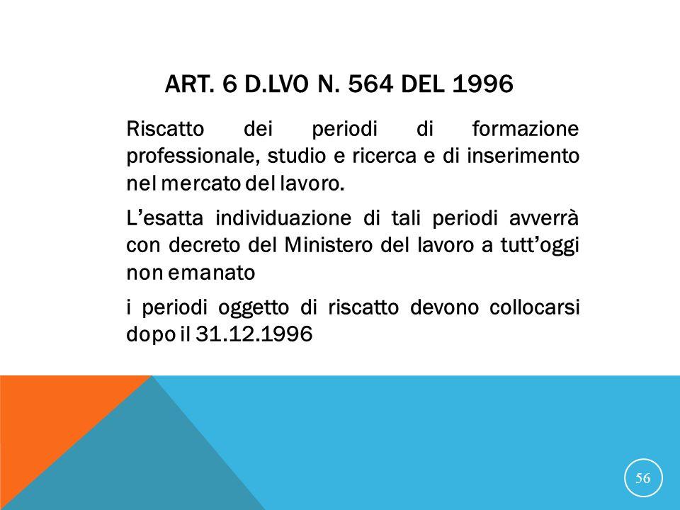 21/07/07 Art. 6 D.Lvo n. 564 del 1996.