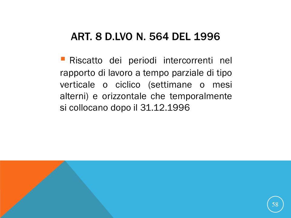 21/07/07 Art. 8 D.Lvo n. 564 del 1996.