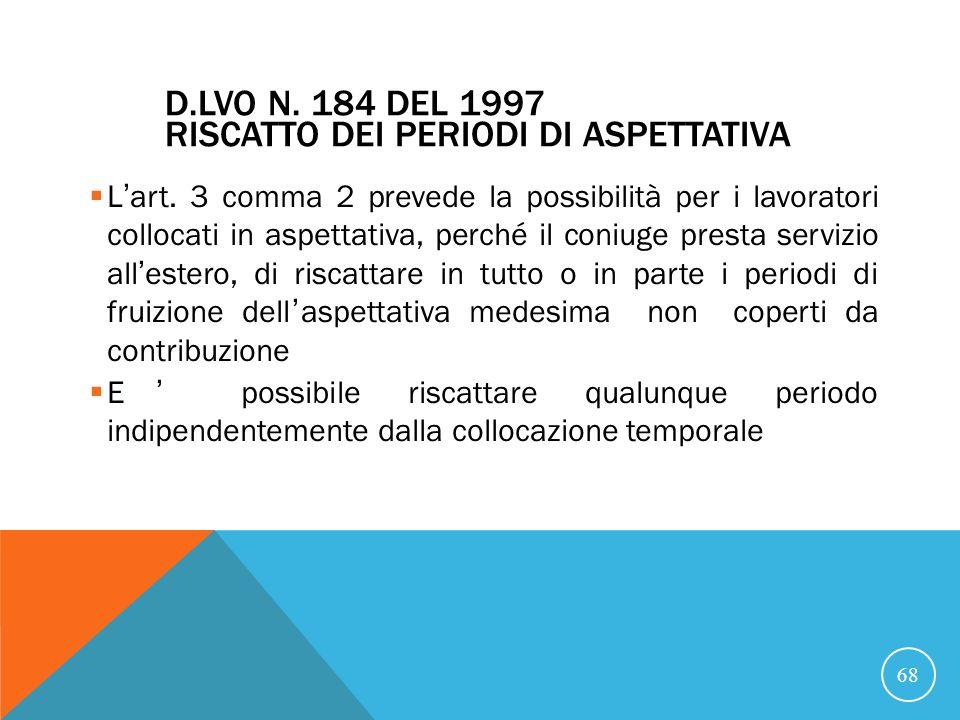 D.Lvo n. 184 del 1997 Riscatto dei periodi di aspettativa