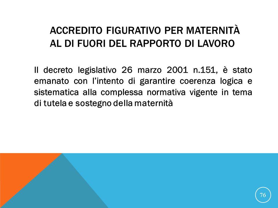 ACCREDITO FIGURATIVO PER MATERNITÀ AL DI FUORI DEL RAPPORTO DI LAVORO